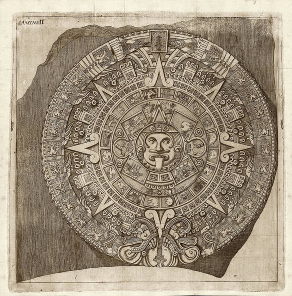 Aztec Photograph - Aztec Calendar Stone by Library Of Congress