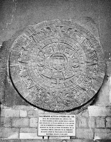 Aztec Photograph - Aztec Calendar Stone Of The Sun by Vintage Images