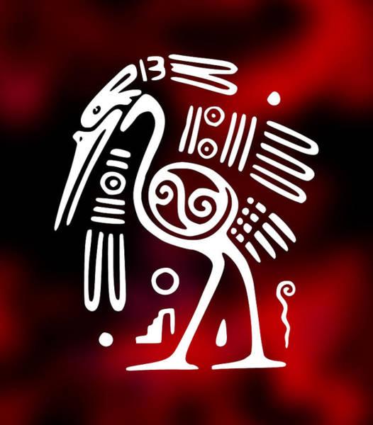 Aztec Digital Art - Aztec Ibis Bird Symbol by Daniel Hagerman