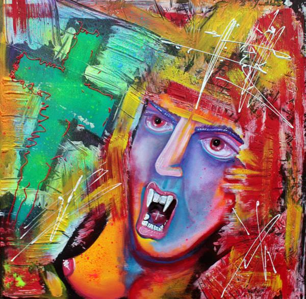 Wall Art - Painting - Aztec Vampire by Laura Barbosa