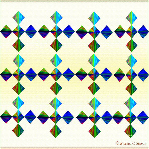 Digital Art - Azure Diamonds Complementary Colors Design by Monica C Stovall