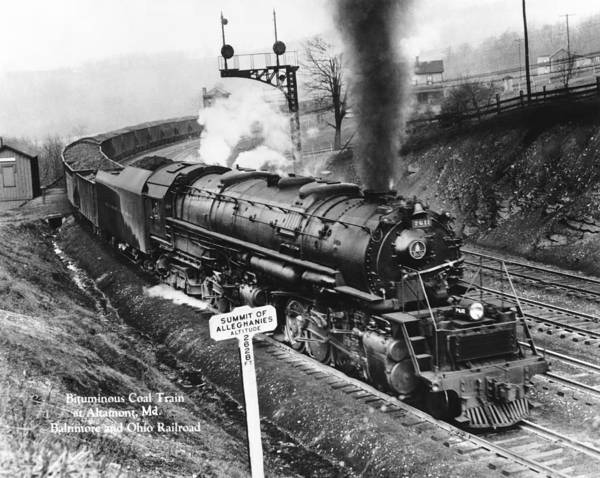 Thoroughfare Photograph - B & O Railroad Coal Train by Underwood Archives