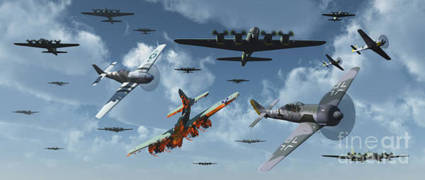 Debris Digital Art - B-17 Bombers And P-51 Mustangs by Mark Stevenson