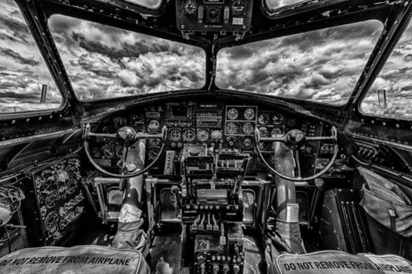 B-17 Bomber Photograph - B-17 Cockpit by Mike Burgquist