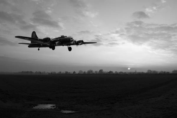 Photograph - B-17 Home Late Black And White Version by Gary Eason