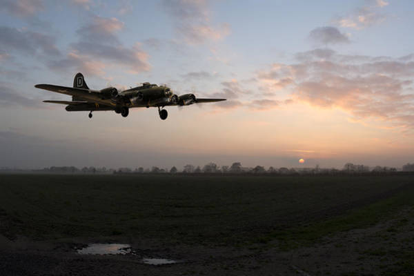 Photograph - B-17 Home Late by Gary Eason