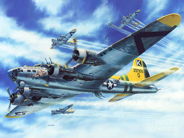 Air War Painting - B-17g Flying Fortress A Bit O Lace by Stu Shepherd