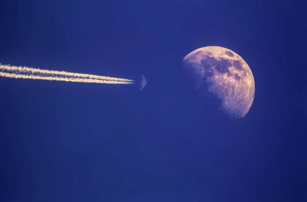 2 Photograph - B-2 Stealth Bomber And The Moon by Erik Simonsen
