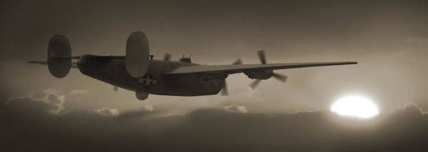 Ww2 Photograph - B - 24 Into The Sun Panoramic by Mike McGlothlen