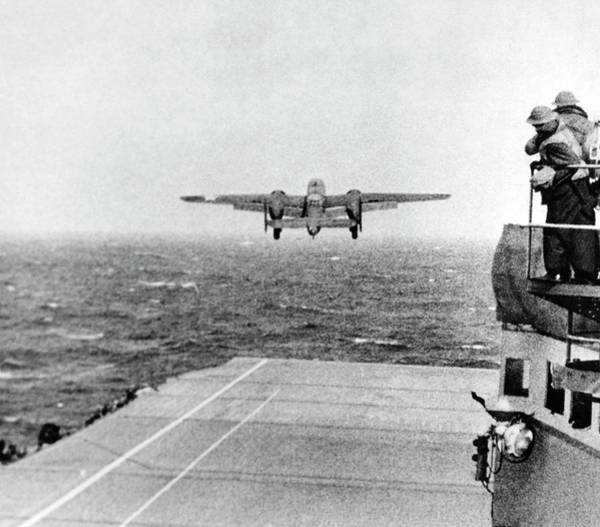 Flight Deck Photograph - B-25 Bomber Taking Off During Wwii by Us Air Force