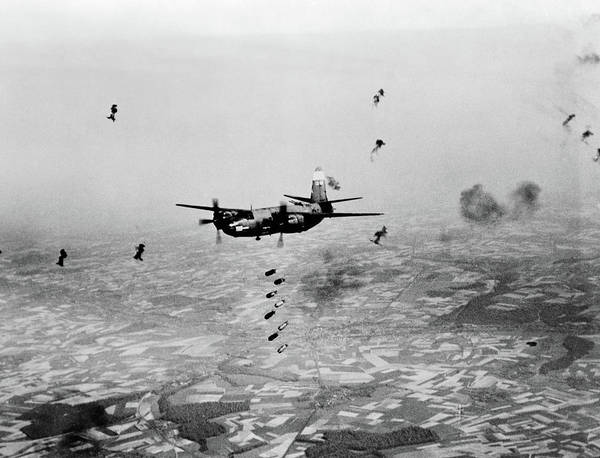 Vintage Airplane Photograph - B-26 Martin Marauder Aircraft Dropping by Vintage Images