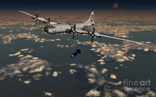 Nuclear Bomber Wall Art - Digital Art - B-29 Superfortress Dropping Little Boy by Mark Stevenson