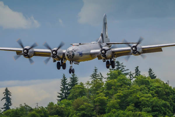 Superfortress Photograph - B-29 Superfortress Landing by Puget  Exposure