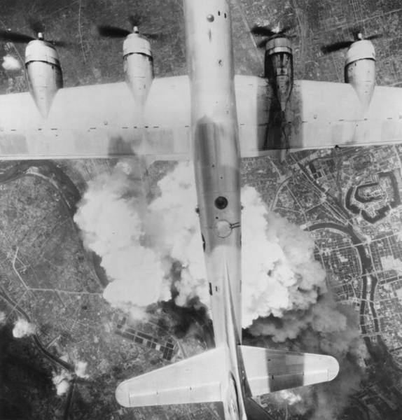 Superfortress Photograph - B-29 Superfortress Over Osaka, Japan by Everett