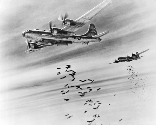 Wall Art - Photograph - B-29s Bombing Burma by Underwood Archives