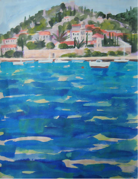 Croatia Painting - b Hvar town Croatia from the sea by Michael Bishop
