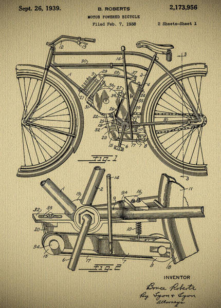 Photograph - B Roberts Motor Power Bicycle 1939 Patent by Bill Cannon