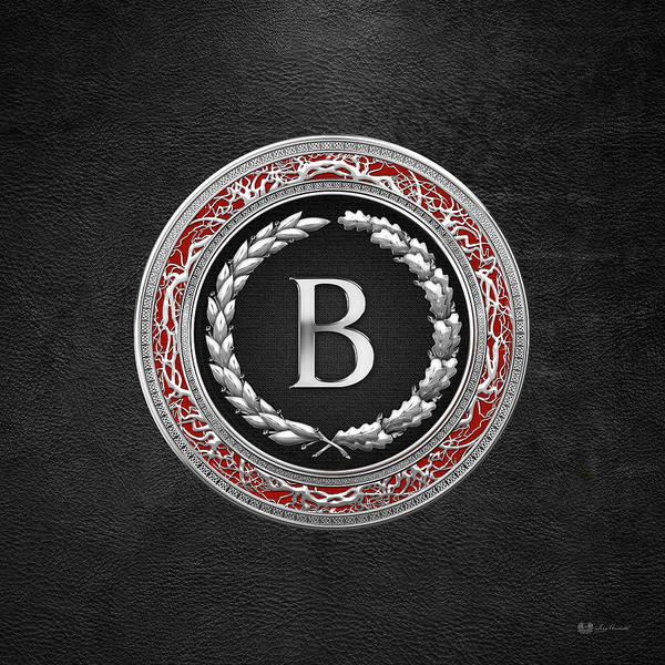 Digital Art - B - Silver Vintage Monogram On Black Leather by Serge Averbukh