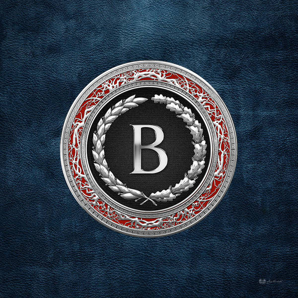 Digital Art - B - Silver Vintage Monogram On Blue Leather by Serge Averbukh