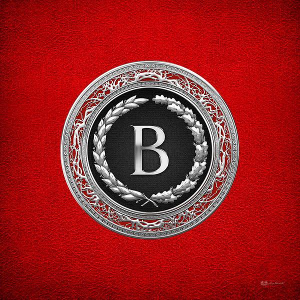 Digital Art - B - Silver Vintage Monogram On Red Leather by Serge Averbukh