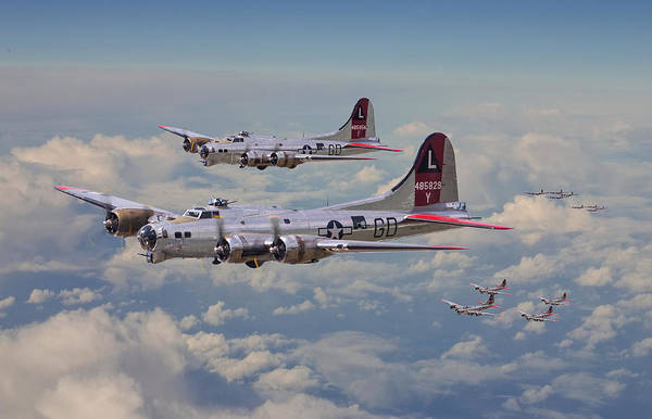 Flying Fortress Photograph - B17- 381st Bomb Group En-route by Pat Speirs