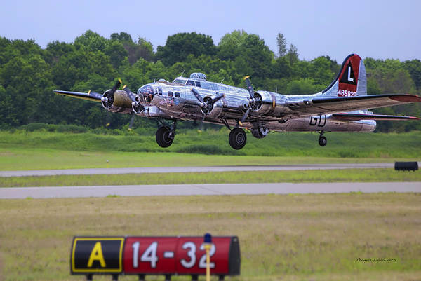 Wall Art - Photograph - B17 Bomber Taking Off by Thomas Woolworth