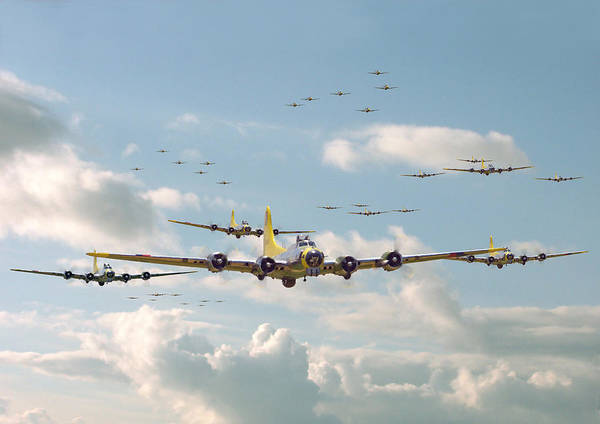 Flying Fortress Photograph - B17 - Mighty 8th En-route by Pat Speirs