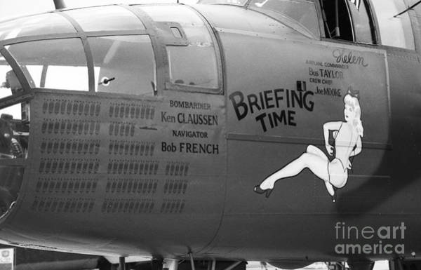 B25j Mitchell Briefing Time Bw Art Print