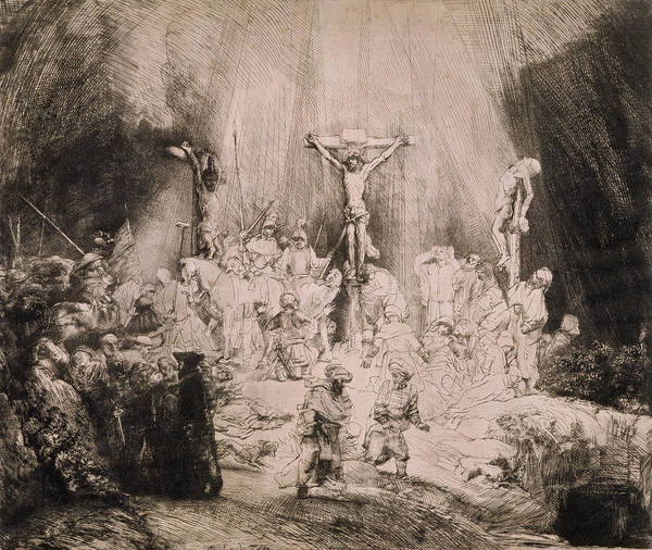 Soldier Drawing - The Three Crosses, Circa 1660 by Rembrandt Harmensz van Rijn