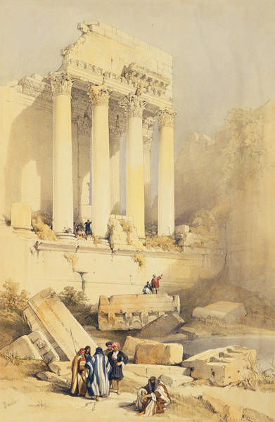 Portico Painting - Baalbec by David Roberts