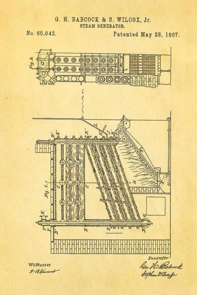 Babcock Photograph - Babcock Steam Generator Patent Art 1867 by Ian Monk
