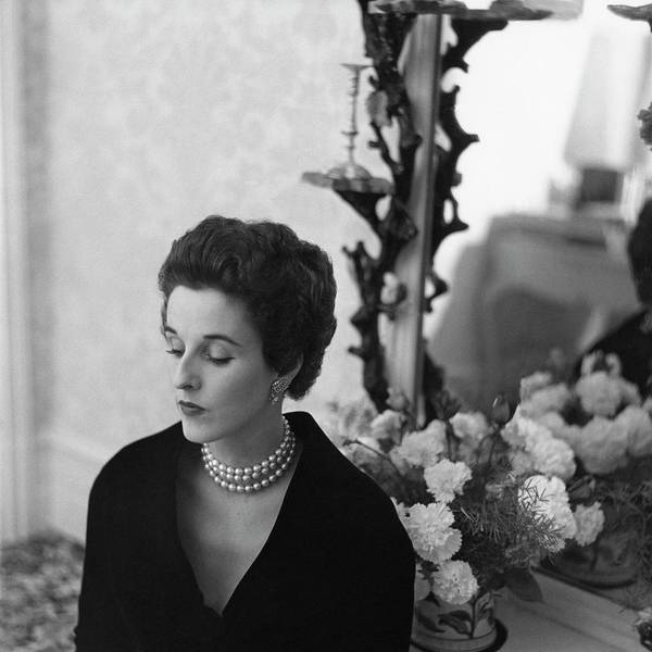 Wealth Photograph - Babe Paley Looking Elegant In A Pearl Necklace by Frances McLaughlin-Gill