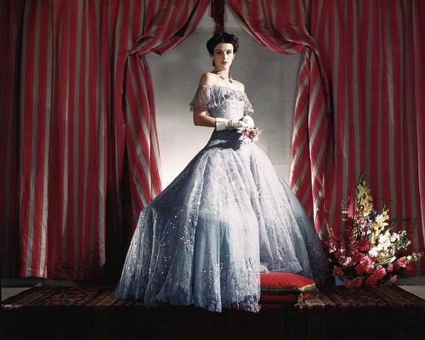 Blue Flower Photograph - Babe Paley Wearing A Blue Evening Gown by Horst P. Horst