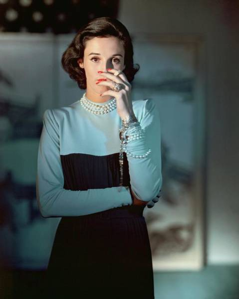 Blue Photograph - Babe Paley Wearing A Traina-norell Dress by Horst P. Horst