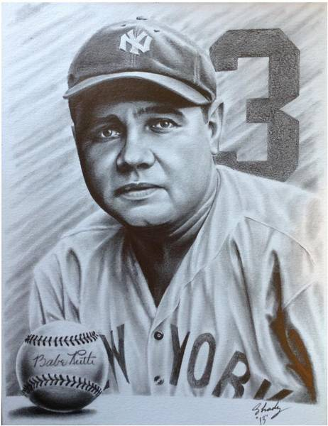 Babe Drawing - Babe Ruth by Jorge Hernandez