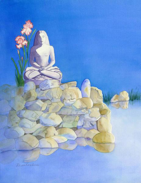 Paramhansa Yogananda Painting - Babaji On Pond by Mantradevi LoCicero