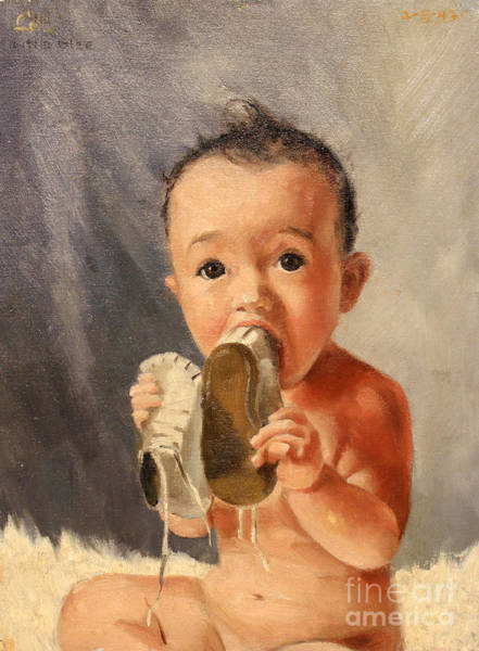 Painting - Baby And Shoes by Art By Tolpo Collection