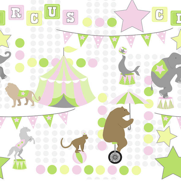 Circus Painting - Baby Big Top V Pink by Nd Art & Design