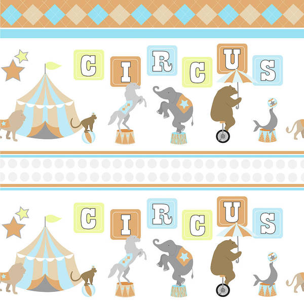 Circus Painting - Baby Big Top Xii Blue by Nd Art & Design