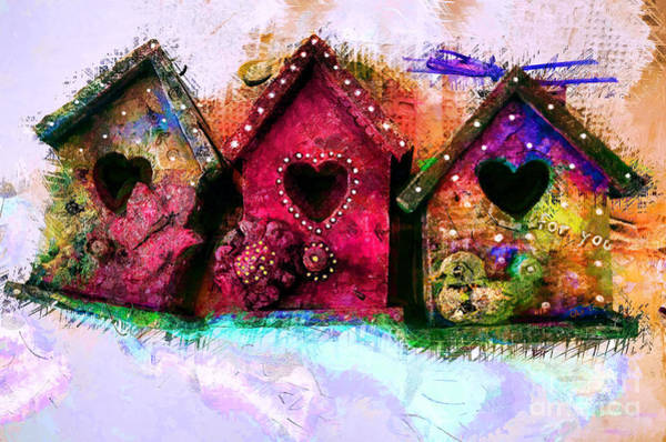 Mixed Media - Baby Birdhouses by Claire Bull