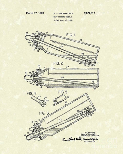 Drawing - Baby Bottle 1959 Patent Art by Prior Art Design