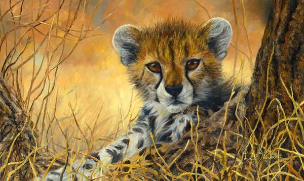 Outdoors Painting - Baby Cheetah  by Lucie Bilodeau