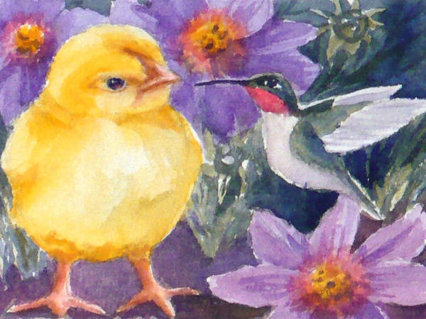 Painting - Baby Chick And Hummingbird by Janet Zeh