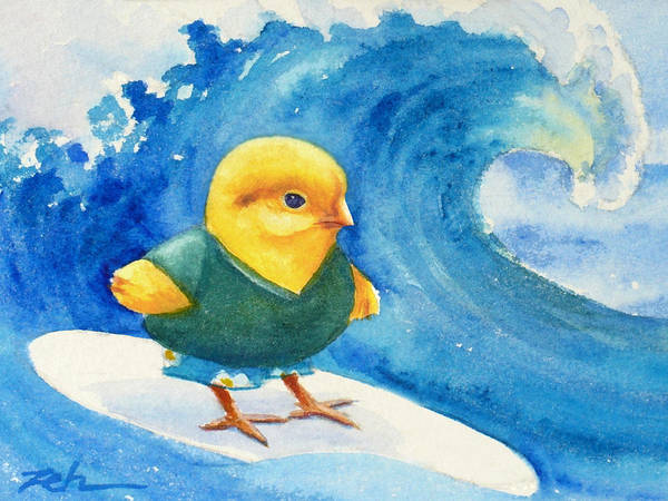 Painting - Baby Chick Surfing by Janet Zeh