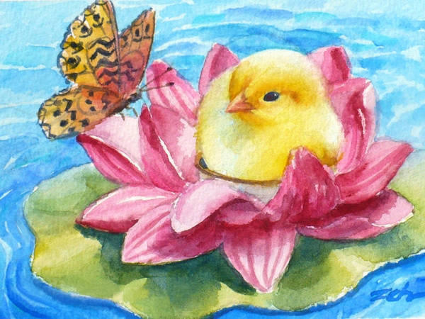 Painting - Baby Chick Water Lily Float by Janet Zeh