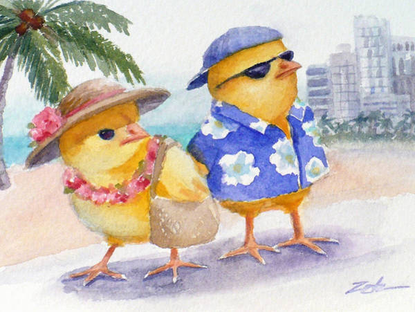 Painting - Baby Chicks In Honolulu Hawaii by Janet Zeh