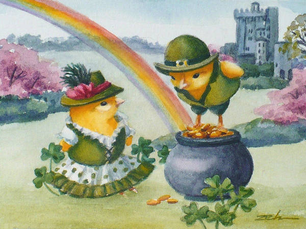 Painting - Baby Chicks In Ireland At Blarney Castle by Janet Zeh