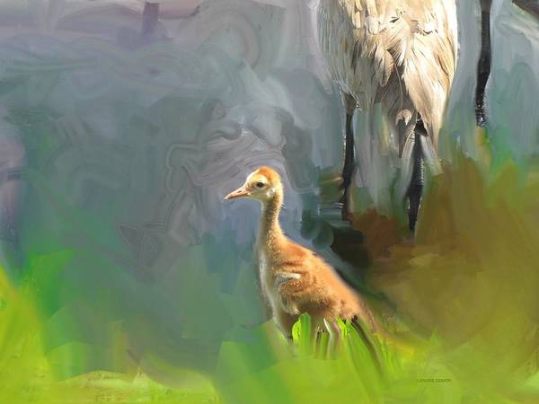 River Scene Mixed Media - Baby Crane And Mom by Lenore Senior
