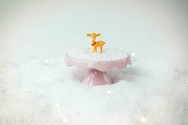 Kitsch Photograph - Baby Deer On A Snowy Landscape by Mieke Dalle