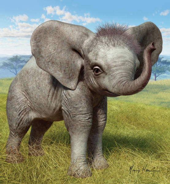 Plains Painting - Baby Elephant by Gary Hanna